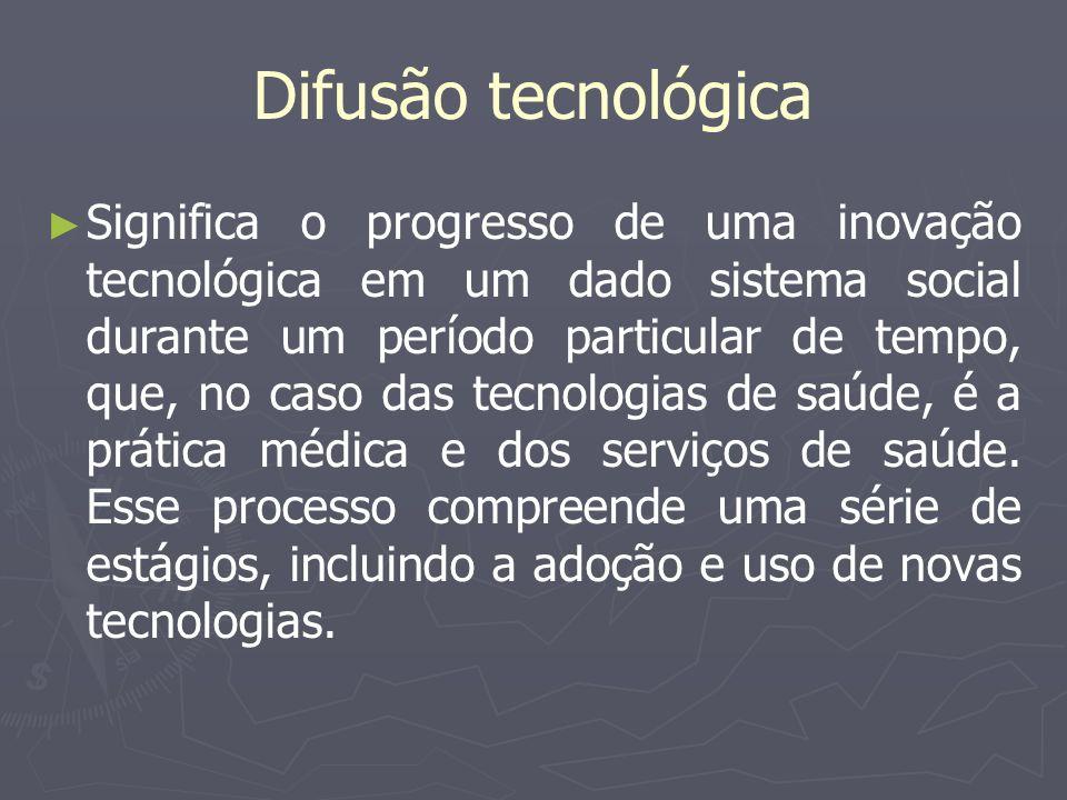Difusão tecnológica Significa o progresso de uma inovação tecnológica em um dado sistema social durante um período particular de tempo, que, no caso d