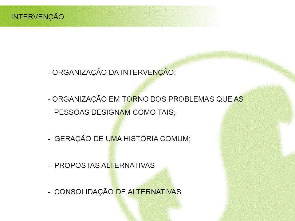 INTERVENÇÃO - ORGANIZAÇÃO DA INTERVENÇÃO; - ORGANIZAÇÃO EM TORNO DOS PROBLEMAS QUE AS PESSOAS DESIGNAM COMO TAIS; - GERAÇÃO DE UMA HISTÓRIA COMUM; - P