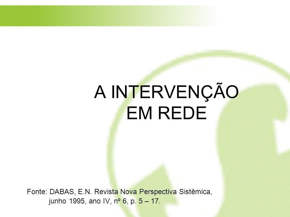 A INTERVENÇÃO EM REDE Fonte: DABAS, E.N. Revista Nova Perspectiva Sistêmica, junho 1995, ano IV, nº 6, p. 5 – 17.