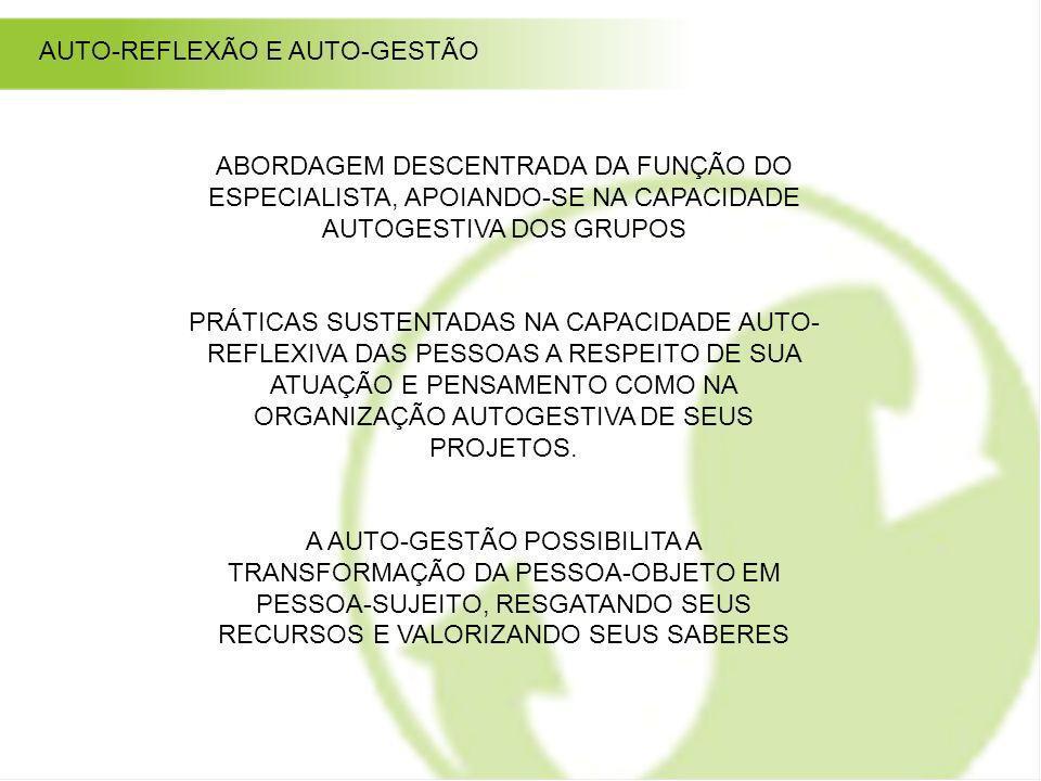 ABORDAGEM DESCENTRADA DA FUNÇÃO DO ESPECIALISTA, APOIANDO-SE NA CAPACIDADE AUTOGESTIVA DOS GRUPOS PRÁTICAS SUSTENTADAS NA CAPACIDADE AUTO- REFLEXIVA D