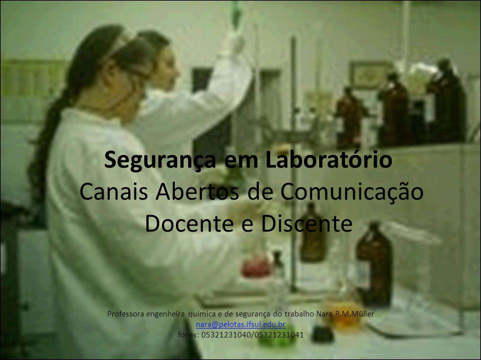 Segurança em Laboratório Canais Abertos de Comunicação Docente e Discente Professora engenheira química e de segurança do trabalho Nara R.M.Müller nar