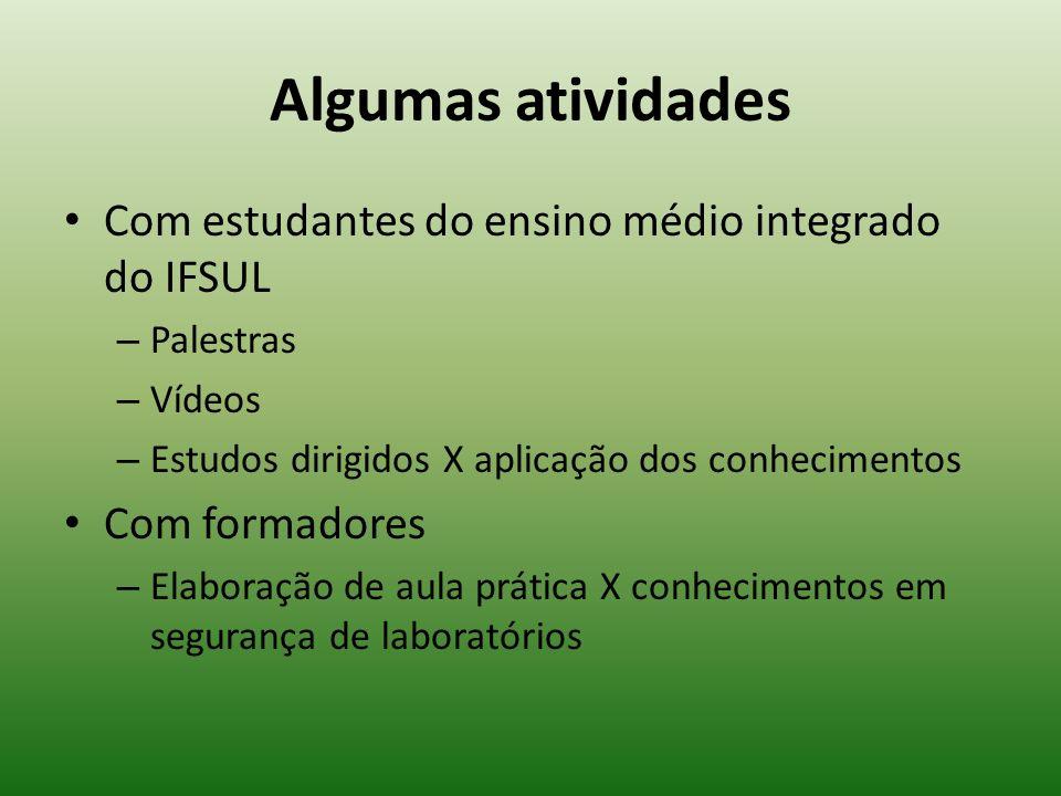 Algumas atividades Com estudantes do ensino médio integrado do IFSUL – Palestras – Vídeos – Estudos dirigidos X aplicação dos conhecimentos Com formad