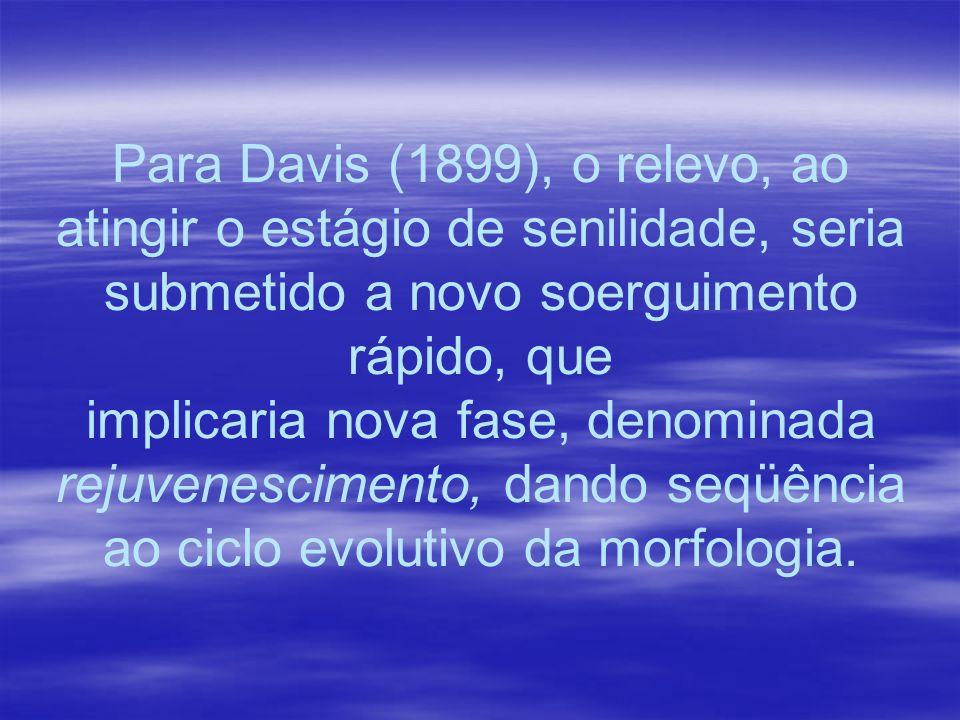 Para Davis (1899), o relevo, ao atingir o estágio de senilidade, seria submetido a novo soerguimento rápido, que implicaria nova fase, denominada reju