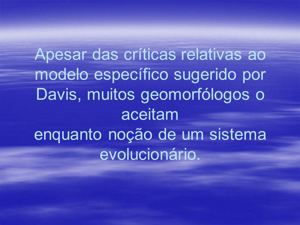 Apesar das críticas relativas ao modelo específico sugerido por Davis, muitos geomorfólogos o aceitam enquanto noção de um sistema evolucionário.