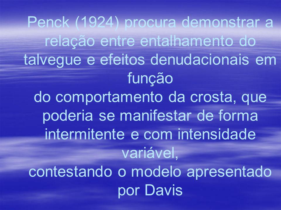 Penck (1924) procura demonstrar a relação entre entalhamento do talvegue e efeitos denudacionais em função do comportamento da crosta, que poderia se