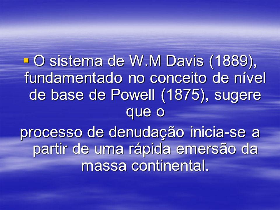 O sistema de W.M Davis (1889), fundamentado no conceito de nível de base de Powell (1875), sugere que o O sistema de W.M Davis (1889), fundamentado no