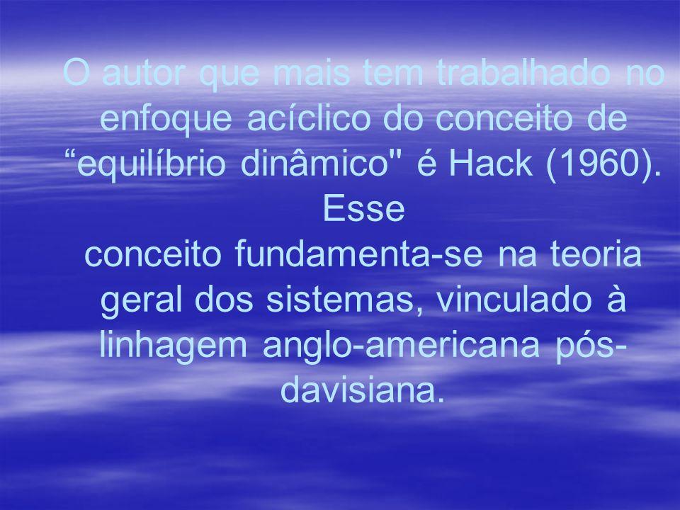 O autor que mais tem trabalhado no enfoque acíclico do conceito de equilíbrio dinâmico'' é Hack (1960). Esse conceito fundamenta-se na teoria geral do