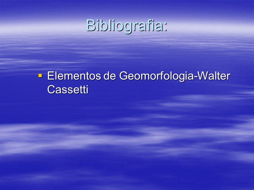 Bibliografia: Elementos de Geomorfologia-Walter Cassetti Elementos de Geomorfologia-Walter Cassetti