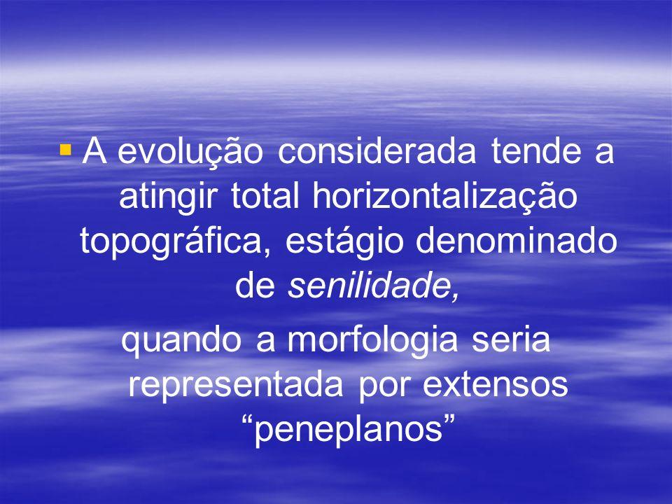 A evolução considerada tende a atingir total horizontalização topográfica, estágio denominado de senilidade, quando a morfologia seria representada po
