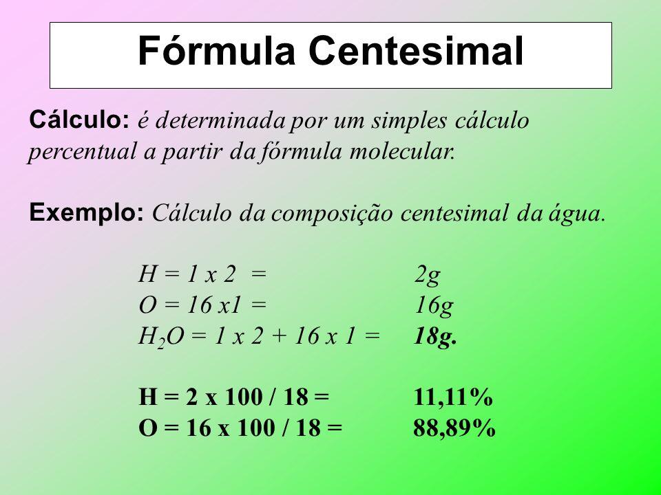 Fórmula Química Definição: é a representação gráfica das substâncias. Fórmula Molecular: indica os elementos e o número de átomos de cada um deles na