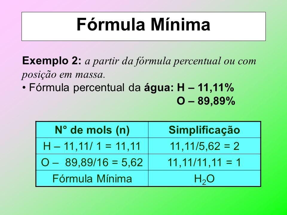 Fórmula Mínima Cálculo: é determinada a partir da fórmula molecular ou percentual. Exemplo 1: a partir da fórmula molecular. Fórmula MolecularFórmula