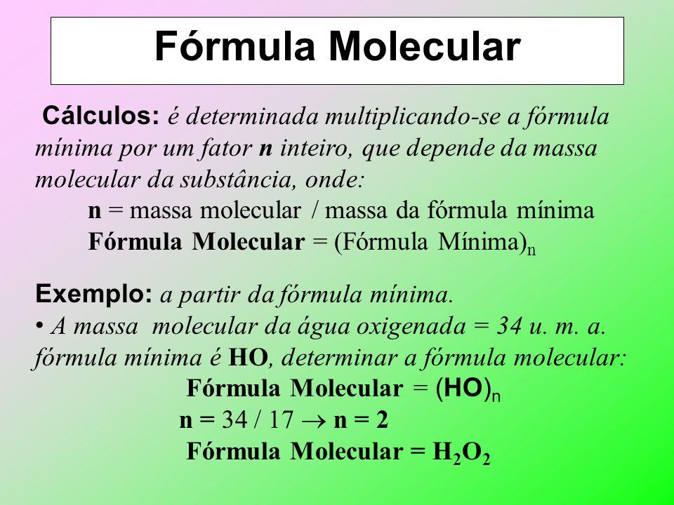 Fórmula Mínima Exemplo 2: a partir da fórmula percentual ou com posição em massa. Fórmula percentual da água: H – 11,11% O – 89,89% N° de mols (n)Simp