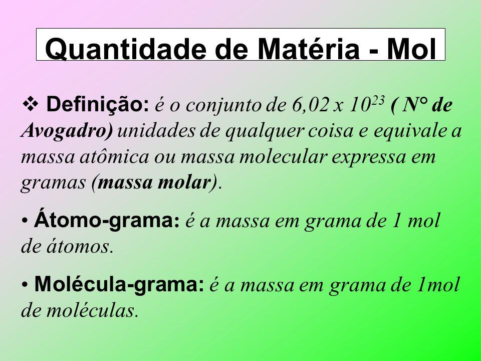 Massa Molecular Definição: é a soma das massas de todos os elementos que constituem uma espécie química. Exemplo: Massa Molecular da água (H 2 O): A –
