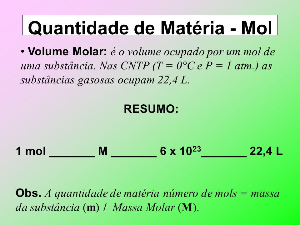 Quantidade de Matéria - Mol Definição: é o conjunto de 6,02 x 10 23 ( N° de Avogadro) unidades de qualquer coisa e equivale a massa atômica ou massa m