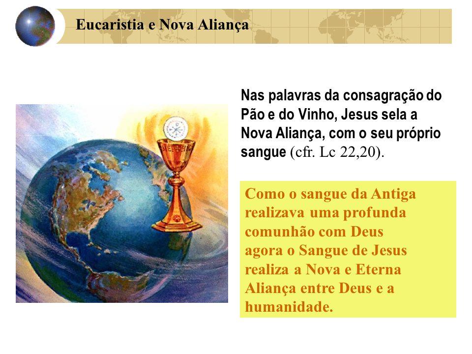 Como o sangue da Antiga realizava uma profunda comunhão com Deus agora o Sangue de Jesus realiza a Nova e Eterna Aliança entre Deus e a humanidade. Na