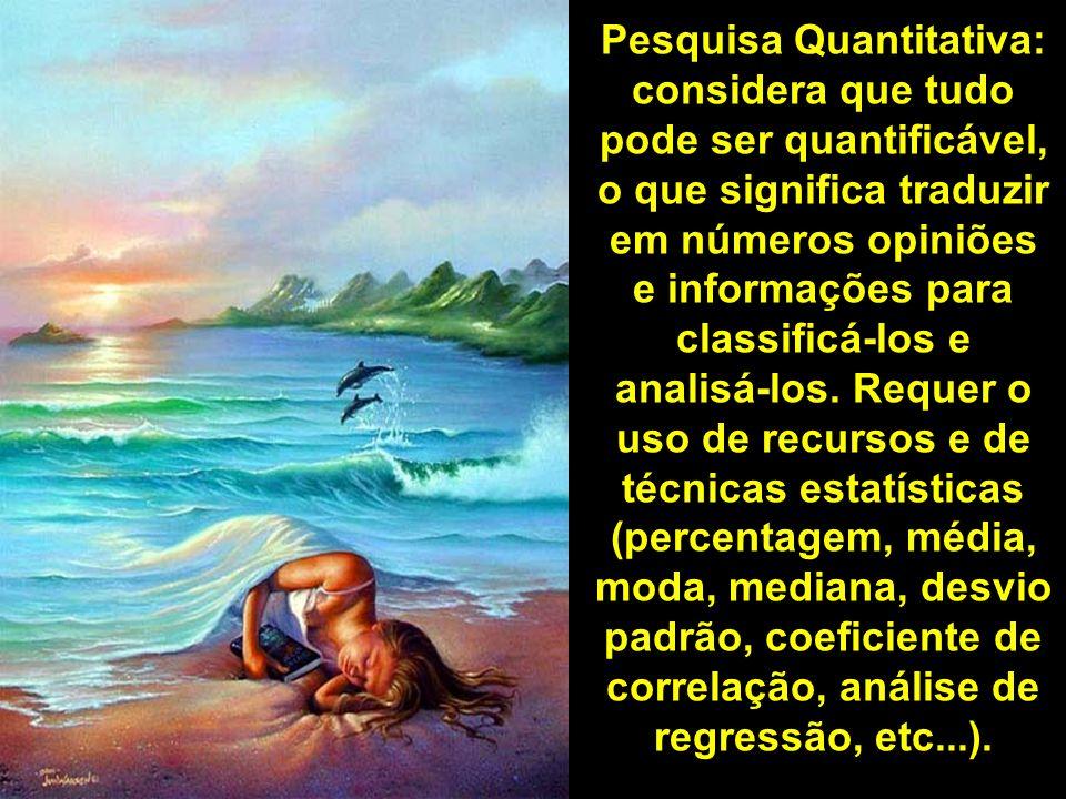 Pesquisa Quantitativa: considera que tudo pode ser quantificável, o que significa traduzir em números opiniões e informações para classificá-los e ana