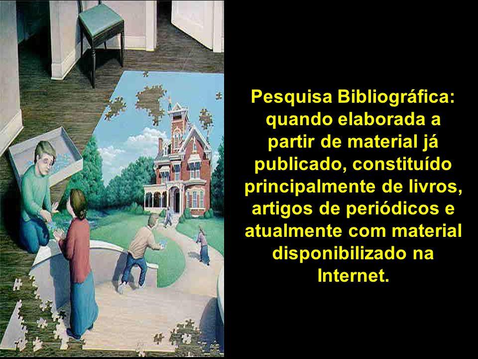 Pesquisa Bibliográfica: quando elaborada a partir de material já publicado, constituído principalmente de livros, artigos de periódicos e atualmente c
