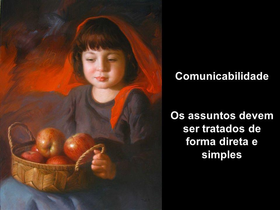 Comunicabilidade Os assuntos devem ser tratados de forma direta e simples