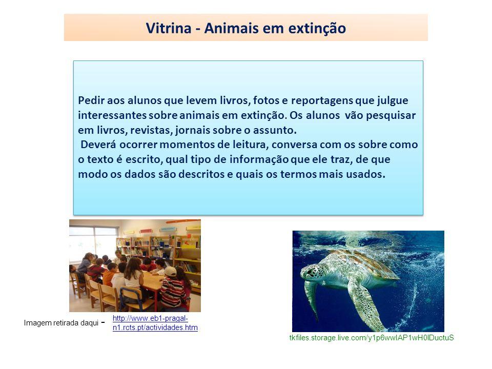 Vitrina - Animais em extinção Pedir aos alunos que levem livros, fotos e reportagens que julgue interessantes sobre animais em extinção. Os alunos vão