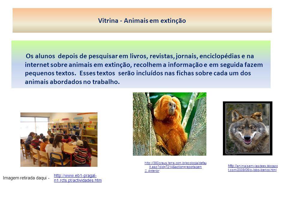 Vitrina - Animais em extinção Os alunos depois de pesquisar em livros, revistas, jornais, enciclopédias e na internet sobre animais em extinção, recol