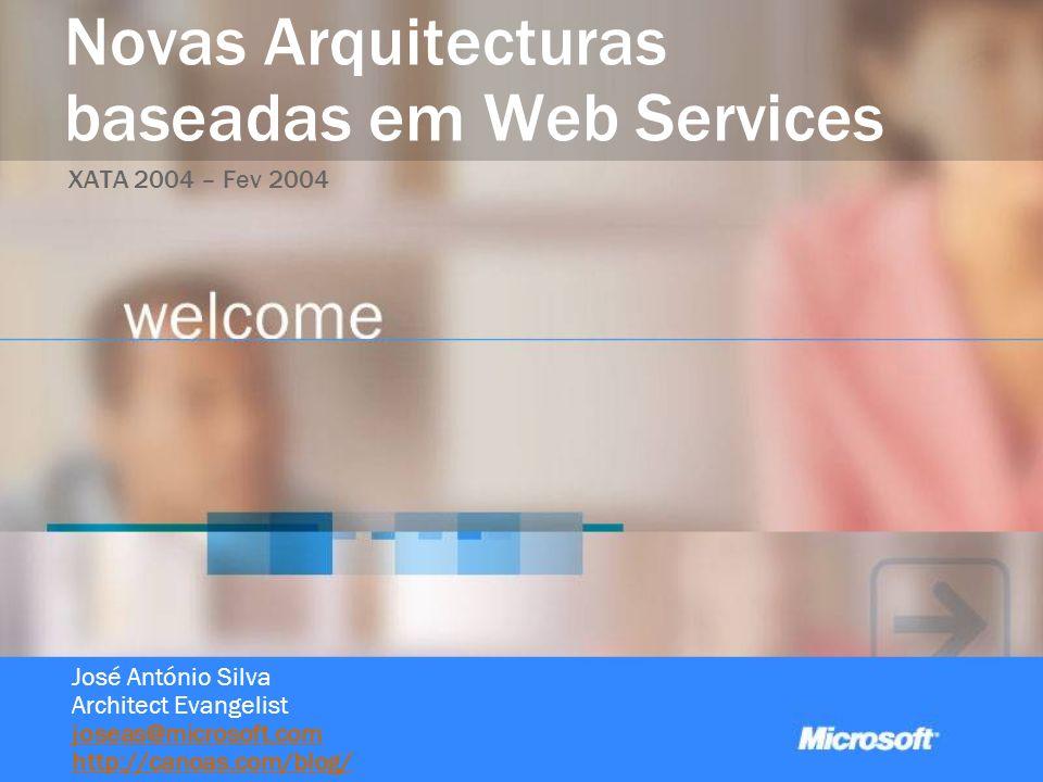 Novas Arquitecturas baseadas em Web Services XATA 2004 – Fev 2004 José António Silva Architect Evangelist joseas@microsoft.com http://canoas.com/blog/