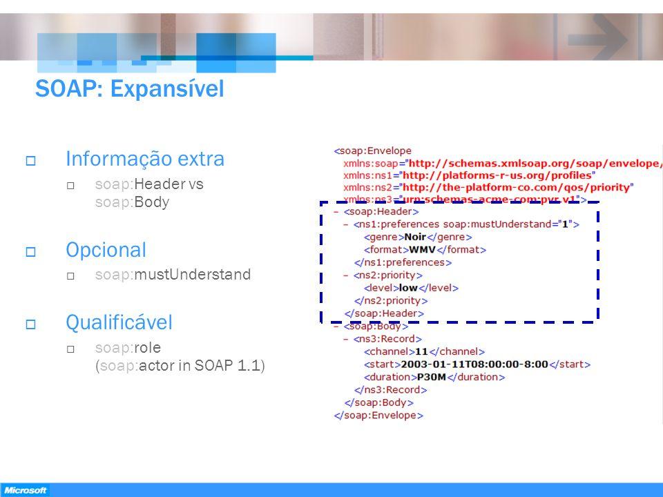 SOAP: Expansível Informação extra soap:Header vs soap:Body Opcional soap:mustUnderstand Qualificável soap:role (soap:actor in SOAP 1.1)