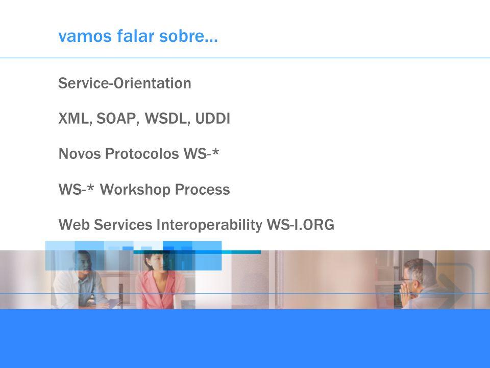 vamos falar sobre… Service-Orientation XML, SOAP, WSDL, UDDI Novos Protocolos WS-* WS-* Workshop Process Web Services Interoperability WS-I.ORG