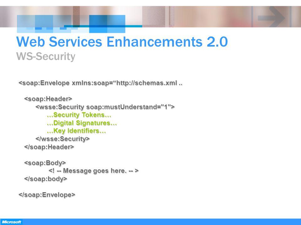 <soap:Envelope xmlns:soap=http://schemas.xml.. …Security Tokens… …Security Tokens… …Digital Signatures… …Digital Signatures… …Key Identifiers… …Key Id