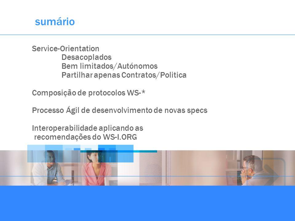 sumário Service-Orientation Desacoplados Bem limitados/Autónomos Partilhar apenas Contratos/Politica Composição de protocolos WS-* Processo Ágil de de