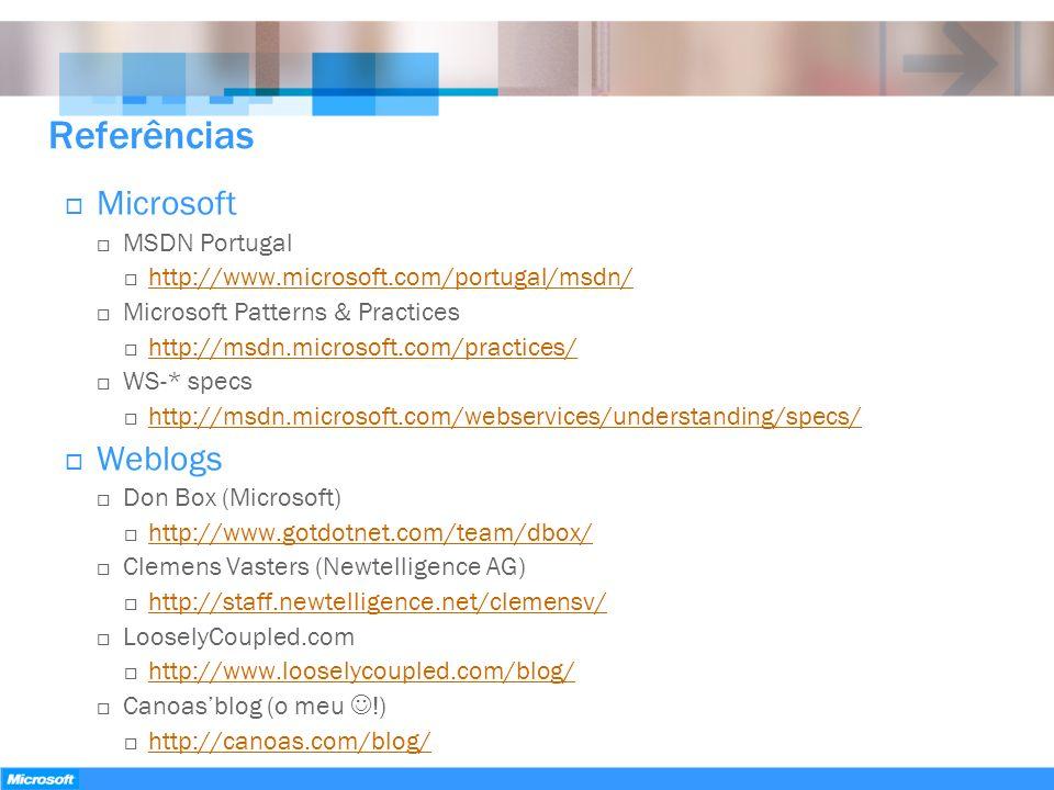 Referências Microsoft MSDN Portugal http://www.microsoft.com/portugal/msdn/ Microsoft Patterns & Practices http://msdn.microsoft.com/practices/ WS-* s