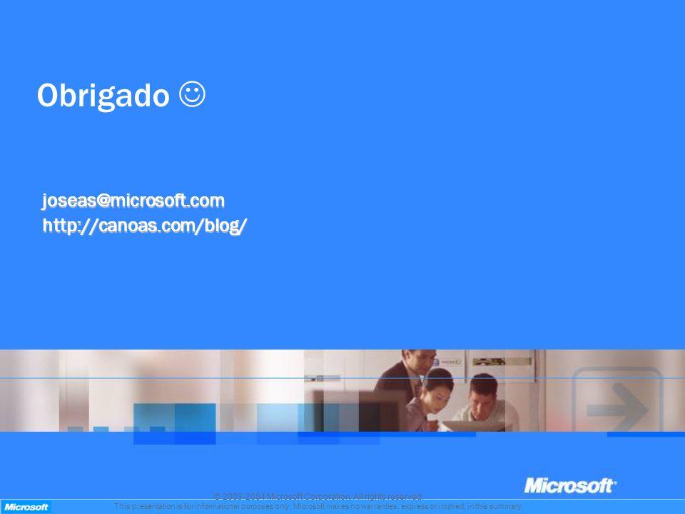 Obrigado joseas@microsoft.comhttp://canoas.com/blog/ © 2003-2004 Microsoft Corporation. All rights reserved. This presentation is for informational pu