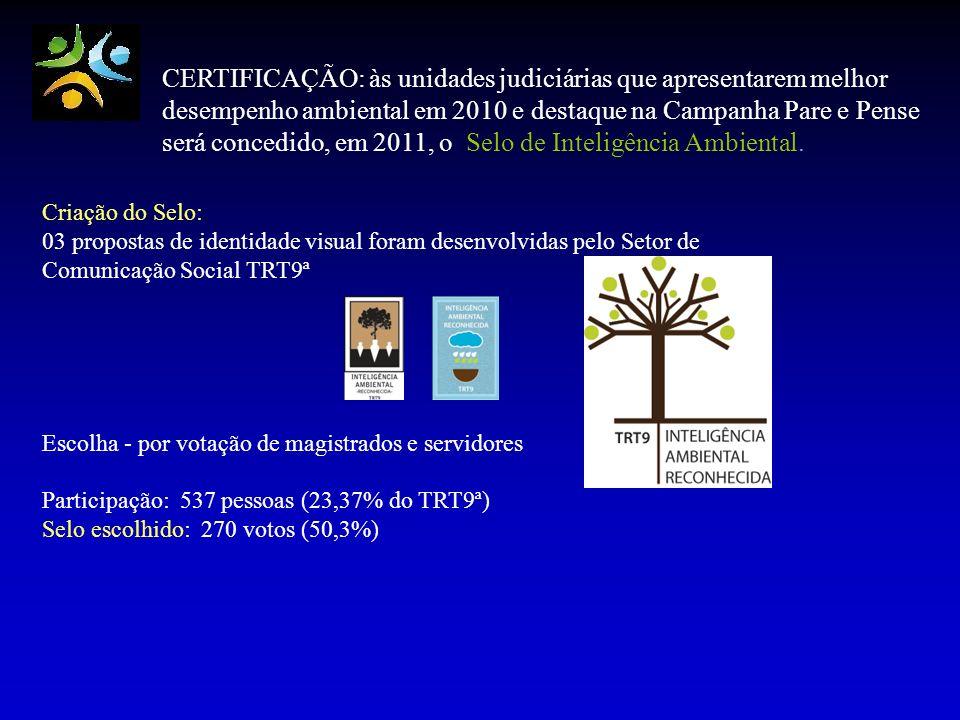 CERTIFICAÇÃO: às unidades judiciárias que apresentarem melhor desempenho ambiental em 2010 e destaque na Campanha Pare e Pense será concedido, em 2011