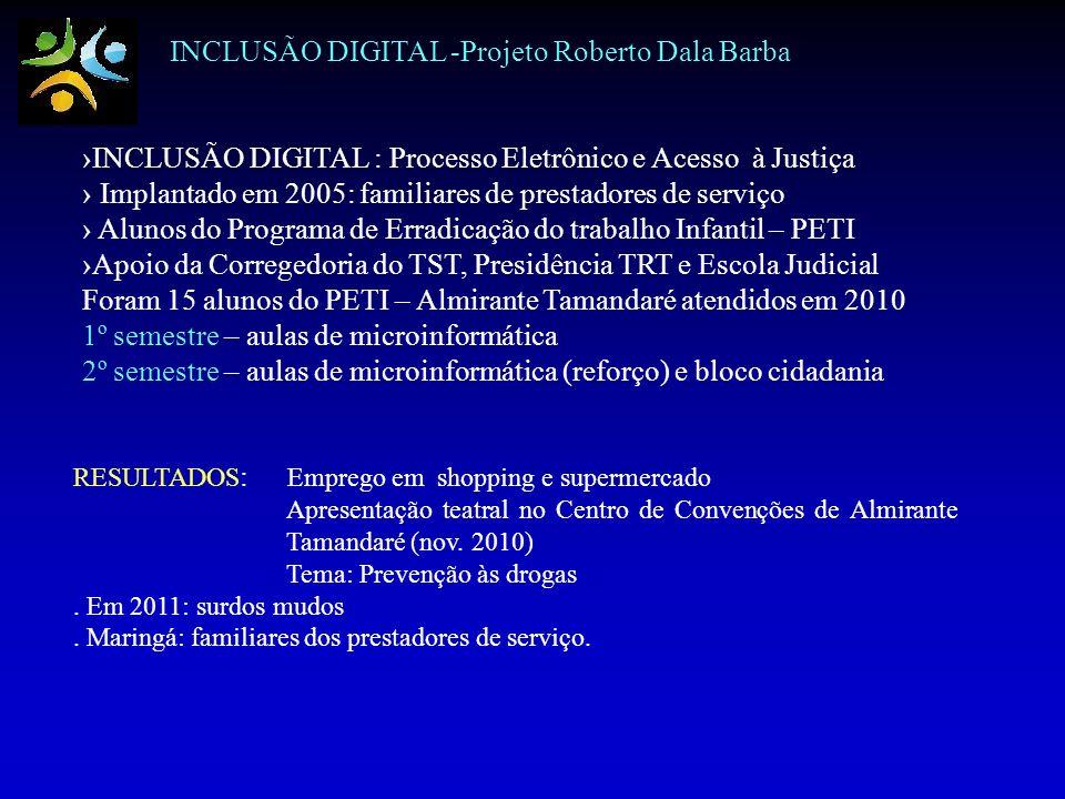 INCLUSÃO DIGITAL -Projeto Roberto Dala Barba INCLUSÃO DIGITAL : Processo Eletrônico e Acesso à Justiça Implantado em 2005: familiares de prestadores d