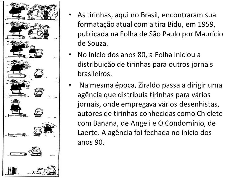 As tirinhas, aqui no Brasil, encontraram sua formatação atual com a tira Bidu, em 1959, publicada na Folha de São Paulo por Maurício de Souza. No iníc