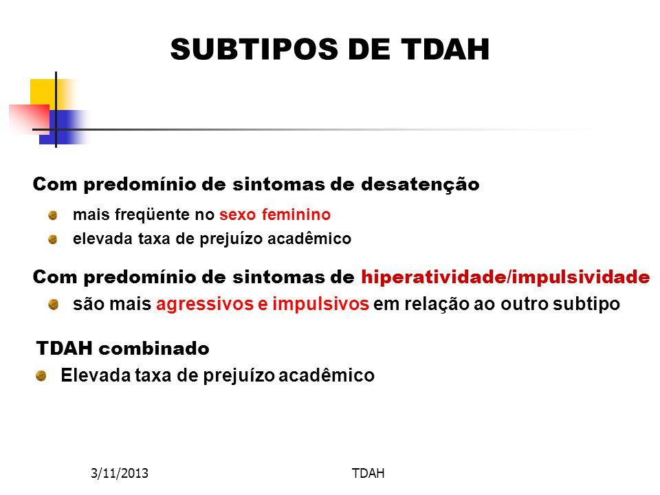 3/11/2013TDAH SUBTIPOS DE TDAH Com predomínio de sintomas de hiperatividade/impulsividade TDAH combinado Elevada taxa de prejuízo acadêmico Com predom