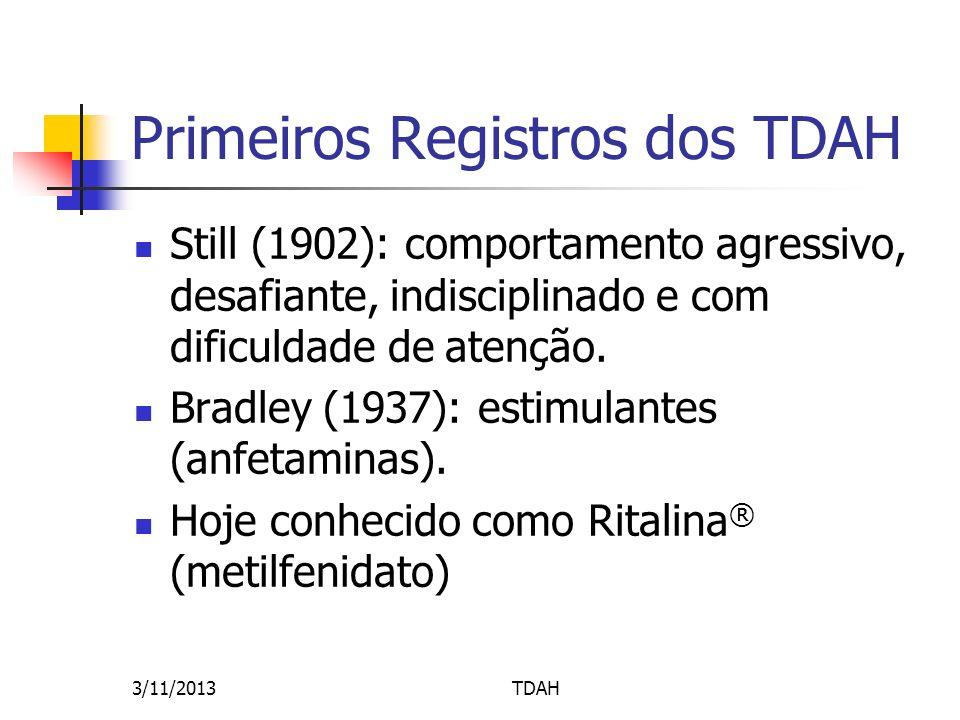 Primeiros Registros dos TDAH Still (1902): comportamento agressivo, desafiante, indisciplinado e com dificuldade de atenção. Bradley (1937): estimulan