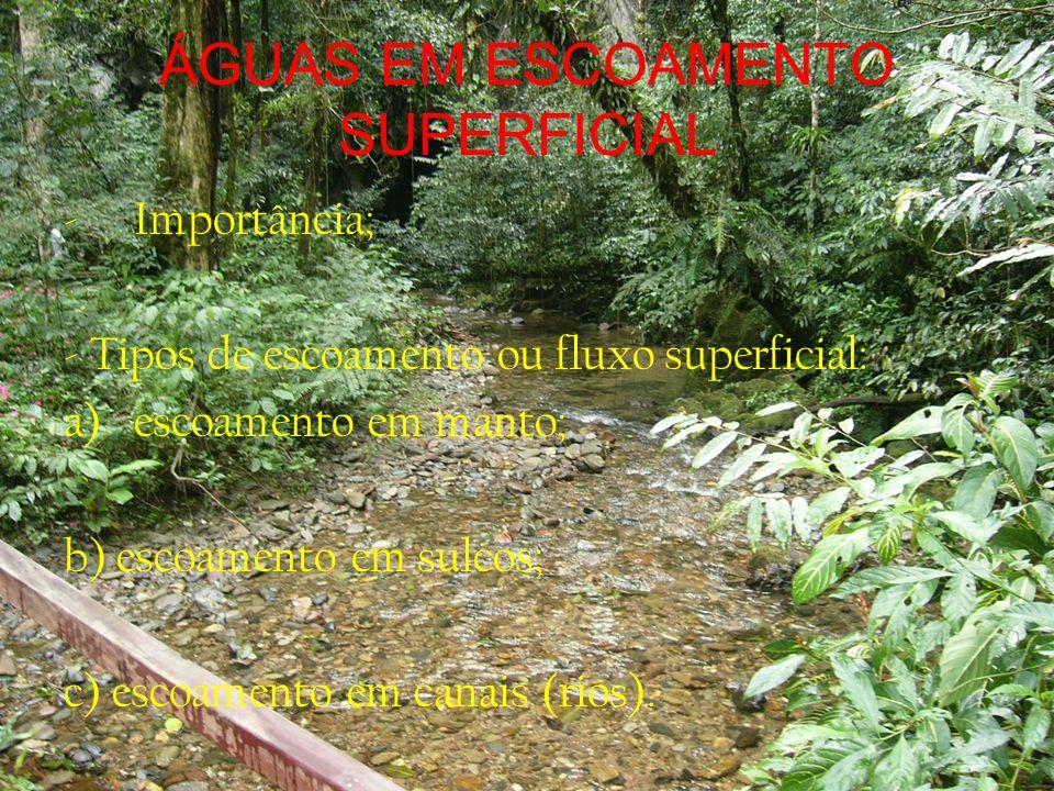 ÁGUAS EM ESCOAMENTO SUPERFICIAL Formação das águas de escoamento superficial: a) retenção superficial; b) charcos em depressões; quantidade de escoamento = precipitação - infiltração;