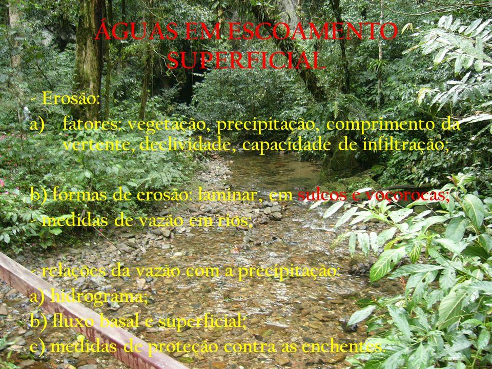 ÁGUAS EM ESCOAMENTO SUPERFICIAL - Erosão: a)fatores: vegetação, precipitação, comprimento da vertente, declividade, capacidade de infiltração; b) form