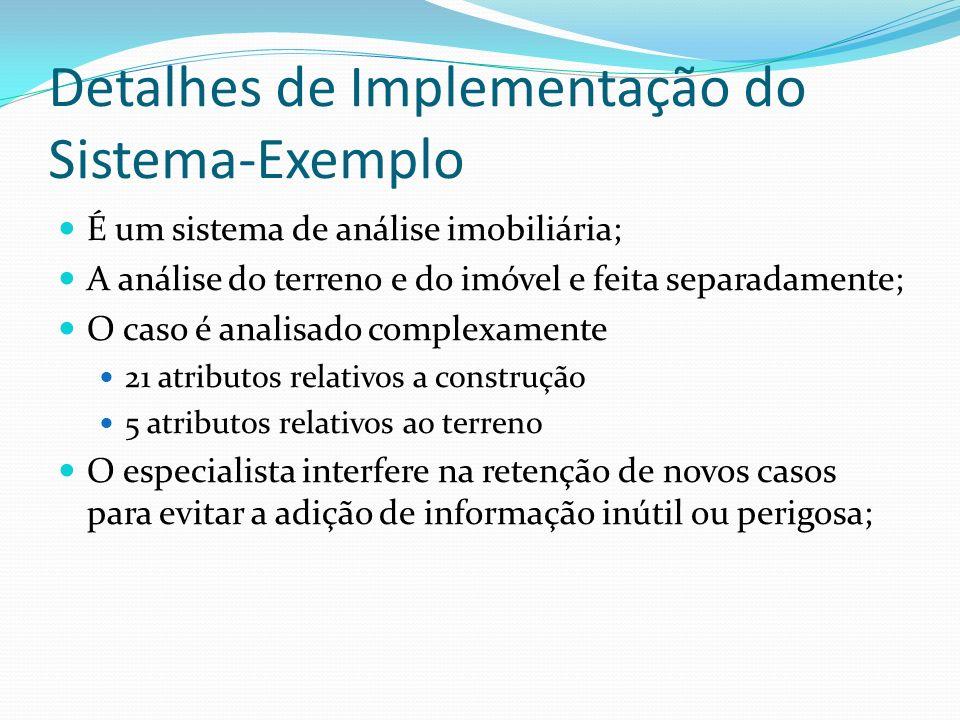 Detalhes de Implementação do Sistema-Exemplo É um sistema de análise imobiliária; A análise do terreno e do imóvel e feita separadamente; O caso é ana