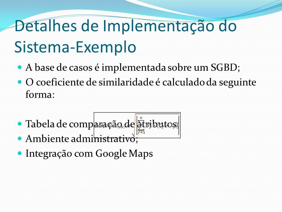 Detalhes de Implementação do Sistema-Exemplo A base de casos é implementada sobre um SGBD; O coeficiente de similaridade é calculado da seguinte forma