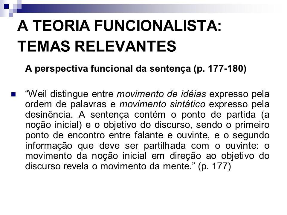 A TEORIA FUNCIONALISTA: TEMAS RELEVANTES A perspectiva funcional da sentença (p. 177-180) Weil distingue entre movimento de idéias expresso pela ordem
