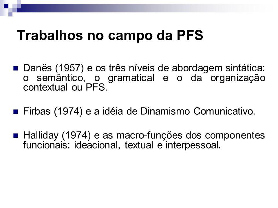 Trabalhos no campo da PFS Danĕs (1957) e os três níveis de abordagem sintática: o semântico, o gramatical e o da organização contextual ou PFS. Firbas
