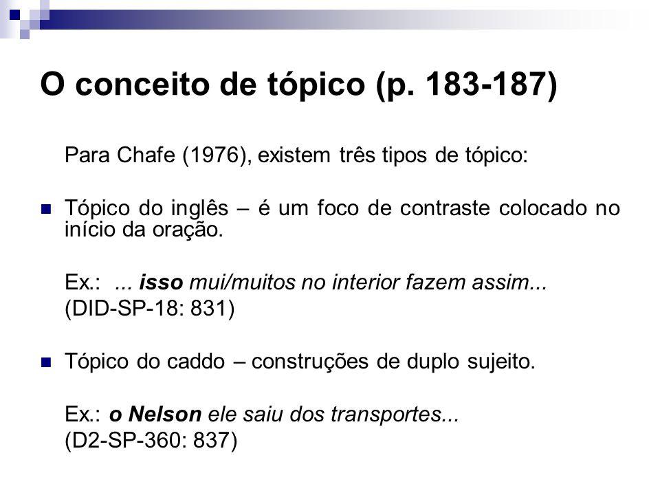 O conceito de tópico (p. 183-187) Para Chafe (1976), existem três tipos de tópico: Tópico do inglês – é um foco de contraste colocado no início da ora