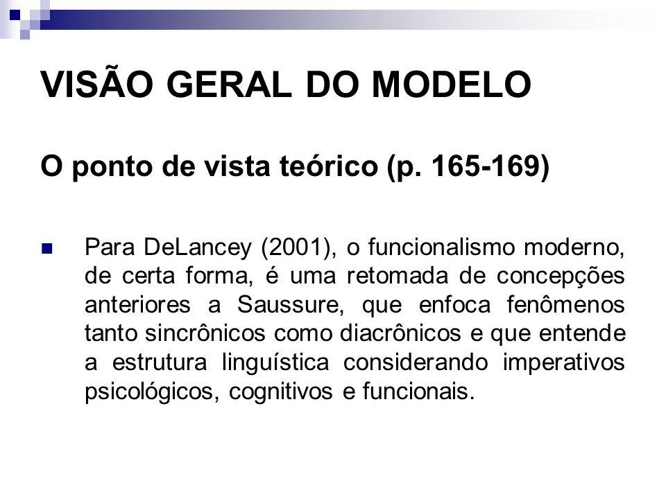 VISÃO GERAL DO MODELO O ponto de vista teórico (p. 165-169) Para DeLancey (2001), o funcionalismo moderno, de certa forma, é uma retomada de concepçõe