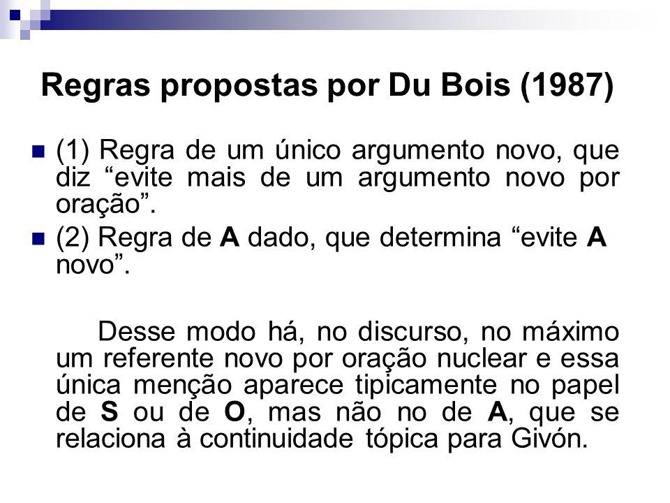 Regras propostas por Du Bois (1987) (1) Regra de um único argumento novo, que diz evite mais de um argumento novo por oração. (2) Regra de A dado, que