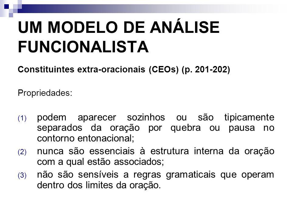 UM MODELO DE ANÁLISE FUNCIONALISTA Constituintes extra-oracionais (CEOs) (p. 201-202) Propriedades: (1) podem aparecer sozinhos ou são tipicamente sep