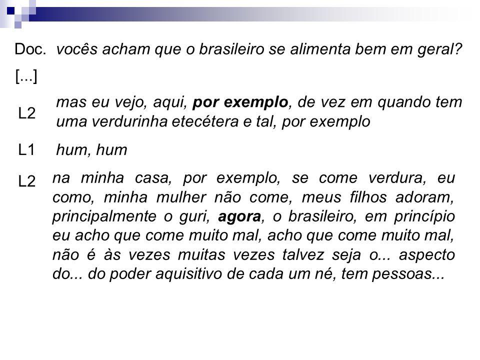 Doc.vocês acham que o brasileiro se alimenta bem em geral? L2 mas eu vejo, aqui, por exemplo, de vez em quando tem uma verdurinha etecétera e tal, por
