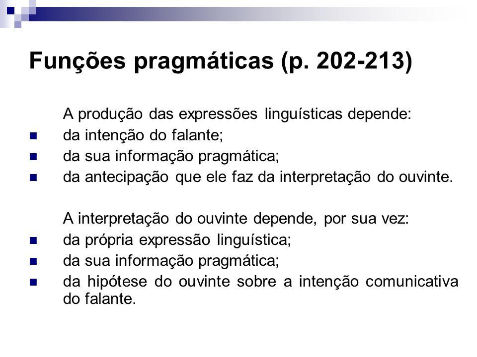 Funções pragmáticas (p. 202-213) A produção das expressões linguísticas depende: da intenção do falante; da sua informação pragmática; da antecipação