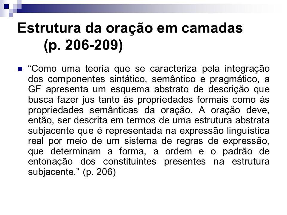 Estrutura da oração em camadas (p. 206-209) Como uma teoria que se caracteriza pela integração dos componentes sintático, semântico e pragmático, a GF