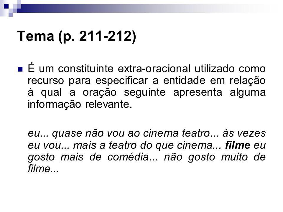 Tema (p. 211-212) É um constituinte extra-oracional utilizado como recurso para especificar a entidade em relação à qual a oração seguinte apresenta a